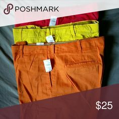 NWT GAP Men's Lived In Slim Pants Sz 38x34 Red, Yellow & Orange Pants!  Comfy, Never worn! GAP Pants Chinos & Khakis
