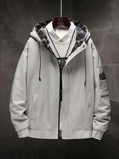 Windbreaker Jacket, Hooded Jacket, Men's Jacket, Girls Fashion Clothes, Fashion Outfits, Cyberpunk Fashion, Fashion Project, Korean Street Fashion, Alternative Fashion