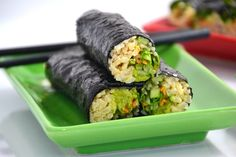 Vegan handrolls.  Quick and easy meal.  Keep brown rice or quinoa in the fridge for nights when short on time- Use any vegies on hand- even cooked pumpkin.
