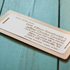 paper cut + wood wedding invite