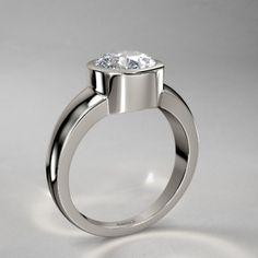 Bezel Set Round Diamond Engagement Ring in 14k White Gold