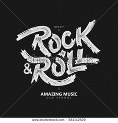 vector illustration. lettering on the theme of rock and roll. vintage, retro style