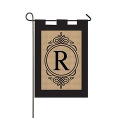Burlap R Monogram Garden Flag with Metal Stand ** See this great product.
