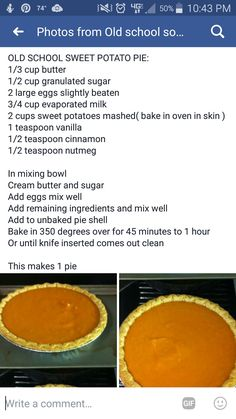 Old School Sweet Potato Pie Homemade Sweet Potato Pie, Sweet Potato Recipes, Southern Sweet Potato Pie, Sweet Potatoe Pie, Southern Food, Köstliche Desserts, Delicious Desserts, Dessert Recipes, Yummy Food
