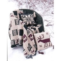 Northern Motifs Afghan and Pillow-free knit pattern from Paton yarns @ Yarnspirations