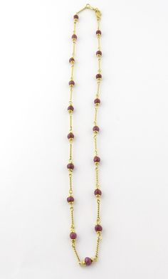 """Vintage 14K Yellow Gold and Genuine Faceted Ruby Bead Necklace 17"""""""
