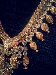Vintage 1960s/1970s Signed St. Labre Gold Mesh and Sparkling Rhinestone Collar / Festoon Necklace