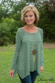 Peyton Striped Top - Green for Fall Mom Outfits, Classy Outfits, Fall Outfits, Casual Outfits, Cute Outfits, Fashion Over 50, Look Fashion, Fashion Outfits, Womens Fashion
