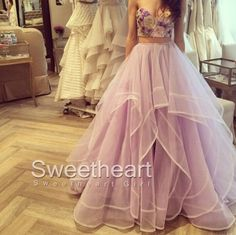 2 Pieces Ruffled Embroidery Tulle Long Prom Dresses, Formal Dress