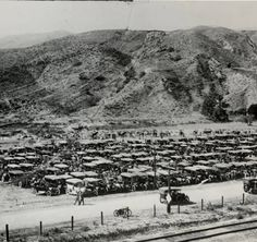 "It is estimated that over 30,000 people showed up at the opening of the Los Angeles Aqueduct on November 5, 1913. They came to watch the Owens Valley water cascade into the resevoir. The caption of this picture was that the automobile was ""here to stay"" in the San Fernando Valley. You can make out some horse and buggies to the rear of the image. San Fernando Valley History Digital Library."