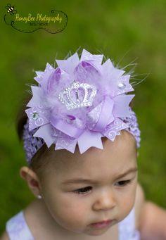 Purple Hair Bow Headband Lavender Princess