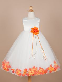 kind of loving this one...  it comes in white or ivory and could get orange petals for O and yellow for the other flower girl...