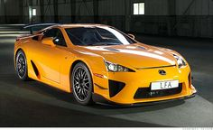 "Lexus LFA $375,000  Engine: 552-hp 4.8-liter V-10  Lexus rightfully ranks among the world's genuine luxury brands/ performance supercar, awesome racetrack performance. Lexus, which now has an ""F"" performance line, Thank You."