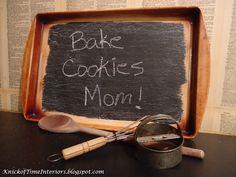 DIY Cookie Sheet Chalkboard  ~~~by KnickofTimeInteriors.blogspot.com