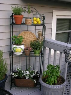 Bakers Rack idea, hadn't thought of putting it outdoors, from Upstairs Downstairs: May 2011