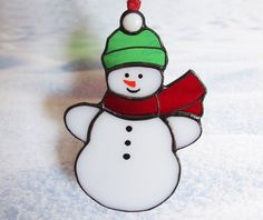 Little Snowman Stained Glass Suncatcher or Christmas Ornament