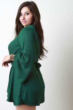 3feab1e41494 This romper is so cute! Plus Size Wide Sleeves Surplice Ruffled Romper  Curvy Girl Fashion