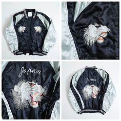 Vintage Japanese Roaring White Tora Tiger Japan Souvenir Embroidery Sukajan Jacket - Japan Lover Me Store