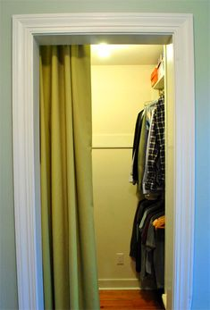 Like mounting it inside!  Curtain for closet instead of an actual closet door