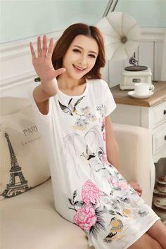 Great Cute Womens Cartoon Polka Dot Sleepshirt Short Sleeve Sleepwear Fashion ladies Nightgowns One piece Factory Wholesale