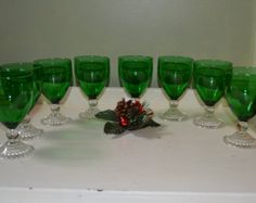 forest green anchor hocking bubble glasses – Etsy