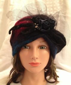special occasion nunofelt hat  beret  cloche One of a kind designer hat women's felted , merino wool ,ladies felted hat black maroon , blue