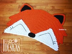 Foxy Fox Rug Nursery Mat - $6.00 (CAN) by Ira Rott   Foxes & Wolves - Animal Crochet Pattern Round Up - Rebeckah's Treasures