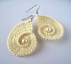 Crochet Sea Shell Earrings | YouCanMakeThis.com