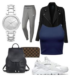 """""""comfy traveling ✈️"""" by boturovic-kristina on Polyvore featuring Michael Kors, NIKE, LE3NO, Louis Vuitton and rag & bone"""