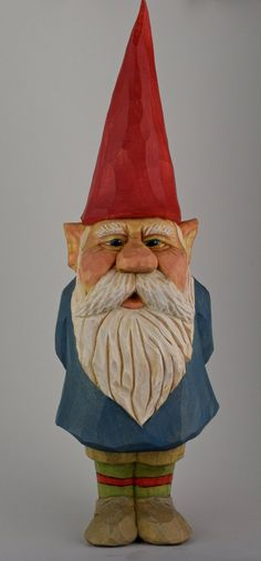 The largest gnome in the clan deserves a big name. Ole Thorvaldsen stands 9 inches (23 cm.) tall and is hand carved of Northern Basswood. Being the big man on campus gives him the grit to wear striped socks and polkadot mittens without fear of being the brunt of shenanigans from the younger gnomes.