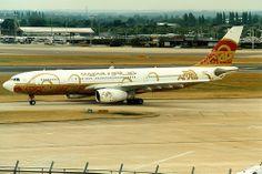 Gulf Air, Airbus A330-200, A9C-KF, 50th Anniversary livery, London Heathrow