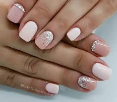 hottest nail designs, best nail art designs, short nails in 2020 Cute Gel Nails, Short Gel Nails, Cute Acrylic Nails, Hot Nails, Pink Nails, Pretty Nails, Pink Sparkle Nails, Pretty Short Nails, Short Nails Art