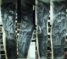 Batman/Gotham City inspired tattoo sleeve. Incredible work by Adam Tratnjek