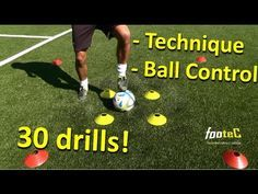 Ball Mastery l Coerver Coaching & Fast Footwork Part 1 - 30 *GREAT* Football drills for Ball Control hashtags Soccer Footwork Drills, Soccer Practice Drills, Soccer Training Drills, Soccer Drills For Kids, Soccer Workouts, Soccer Skills, Soccer Coaching, Youth Soccer, Soccer Tips