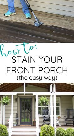 The easiest way to update your front porch - - Looking for front porch ideas? Check out this front porch makeover before and after. See how we made a simple update to our post and beam front porch and learn how to stain a wooden porch the easy way. Painted Front Porches, Front Porch Deck, Porch Wood, Porch Stairs, Farmhouse Front Porches, Diy Porch, Porch Ideas, Pergola Ideas, Landscaping Ideas