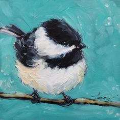 Chickadee Painting 6x6 original oil painting on panel by LaveryART, $55.00: