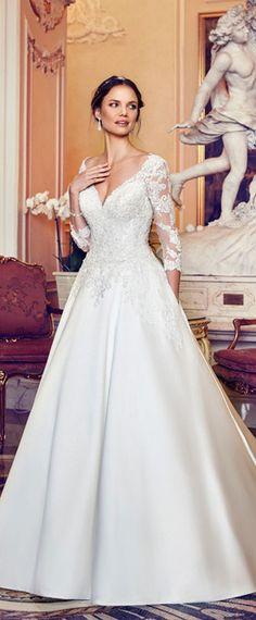 Best A-line Wedding Dresses : Fascinating Tulle & Satin V-neck Neckline A-line Wedding Dress With Beaded L