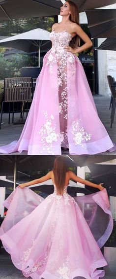 A-line Strapless Sweep/Brush Train Sleeveless Organza Prom Dress/Evening Dress # ON016 #fashion #style #art #Long #Prom #Evening #Appliques #Lace #Beautiful #pink