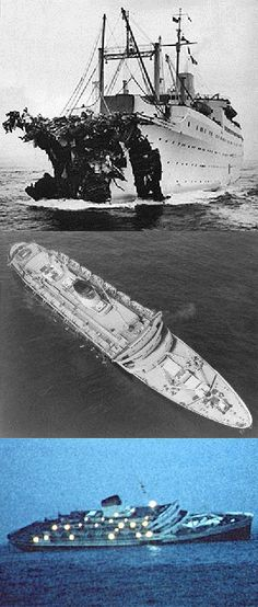 25th July 1956: the Italian ocean liner SS Andrea Doria collided with the MS Stockholm in heavy fog just south of Nantucket.