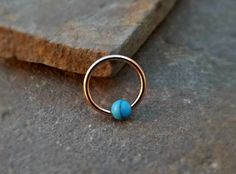 Gold Cartilage Earring with Turquoise Bead Captive Hoop Tragus Helix Daith Body Jewelry Surgical Stainless Steel - Trend Jewelry Model 2019 Helix Cartilage Earrings, Septum Piercing Jewelry, Ear Piercings Cartilage, Nose Jewelry, Jewelry Model, Tragus, Peircings, Tongue Piercings, Rook Piercing