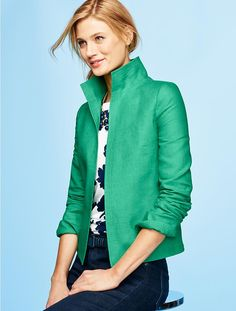 Madison Linen Stand-Collar Jacket - Talbots - SB Apr 2016
