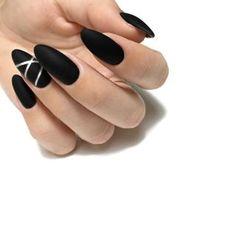Nail Art Designs 💅 - Cute nails, Nail art designs and Pretty nails. Matte Black Nails, Black Nail Art, White Nails, Black Almond Nails, Matte Nail Art, Dark Nails, Nail Art Designs, Black Nail Designs, Nails Design