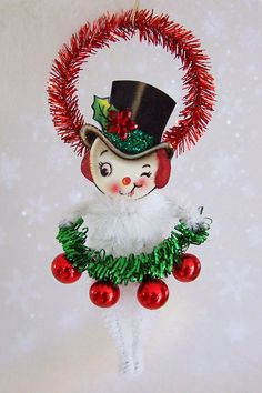 Mr.Snowman Christmas Ornament Feather Tree