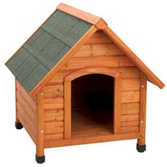 Premium Plus A-Frame Dog House - Small This dog house;is made from fir wood and sealed with a water based non-toxic stain. It has a waterproof shingle roof and solid wood construction. Minimal assembly is required. All you need is a screw driver and you will be done in a few minutes. The roof fully opens for easy access and cleaning. There are also adjustable legs so the house is never unlevel.
