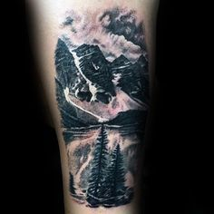 lake landscape mens thigh tattoo ideas tattoo ideas pinterest tattoo landscape tattoo and. Black Bedroom Furniture Sets. Home Design Ideas