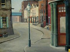 """My pleasure & thank you: I'm very pleased that you liked it. Here's an archetypal ELG street-scene for you: this is ""Warner Street"" by Harold Steggles from Camden London, Camden Town, London Art, East London, Bow Art, British Travel, Brick Lane, Urban Life, Old Houses"