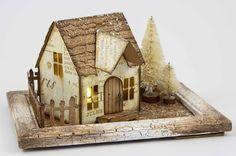 Juliz Design Post : Secret Santa at A Vintage Journey Fun Arts And Crafts, 3d Paper Crafts, Victorian Dollhouse, Modern Dollhouse, Winter Home Decor, Winter House, Putz Houses, Wood Houses, Village Houses