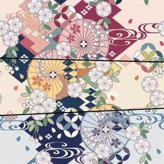 ロス・エンタテイメント様から、折り鶴の形をしているクリーナークロスが発売されます。 和柄のデザインを担当させて頂きました。そのデザイン画です。※They are not free textures. Chinese Patterns, Japanese Patterns, Japanese Fabric, Japanese Artwork, Japanese Prints, Art And Illustration, Japan Art, Chinese Art, Textures Patterns