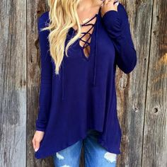 Sexy Hollow Out Lace Up Gothic Long Sleeve Top