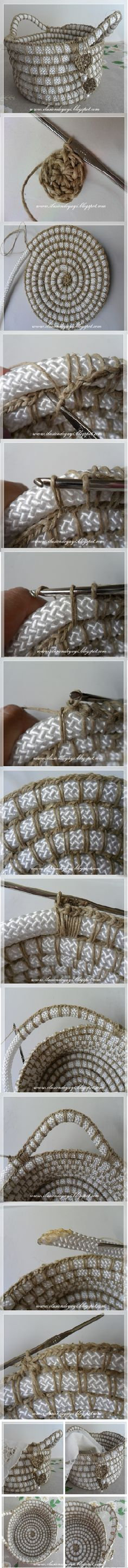 Crochet and Rope Basket - Tutorial ❥ // hf. Solves the problem with starting in the middle for baskets, mats and rugs, whether yarn or fabric strips. Crochet Rope, Knit Or Crochet, Crochet Crafts, Yarn Crafts, Crochet Stitches, Crochet Patterns, Yarn Projects, Crochet Projects, Rope Basket